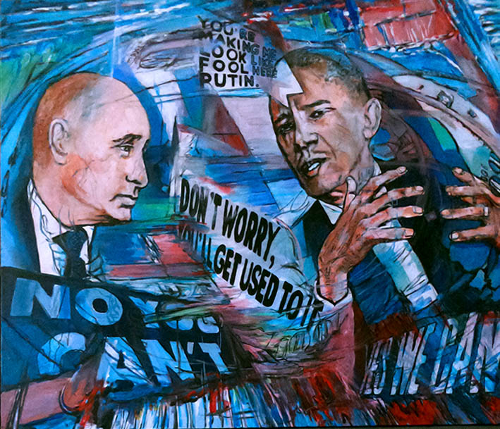 Acryl op canvas. Poetin vs Obama. 1  120 x 100 cm